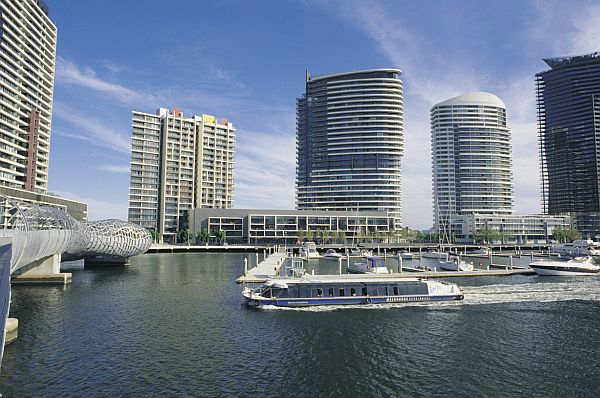 Boats in the Yarra River at Docklands