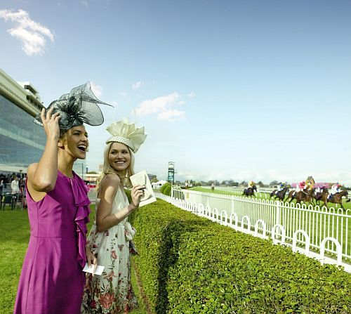 Women attending the Spring Racing Carnival at Caulfield