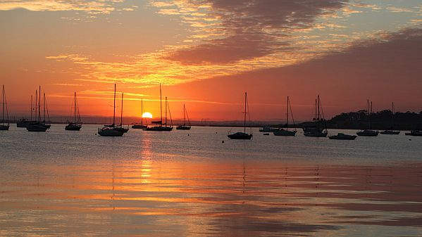 Sunset over the bay at Geelong