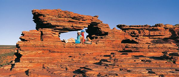 Asian couple at Natures Window in Kalbarri National Park