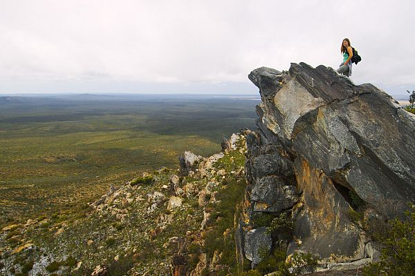 Hiker on East Mount Barren, located in the Fitzgerald River National Park